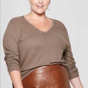 NWT AVA & VIV women's long sleeve v-neck Size 2X